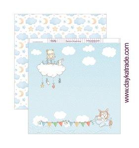 """Papel 12""""x12"""" Dayka Bebé en nube azul"""