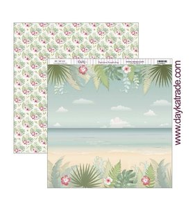 "Papel 12x12"" Playa tropical"