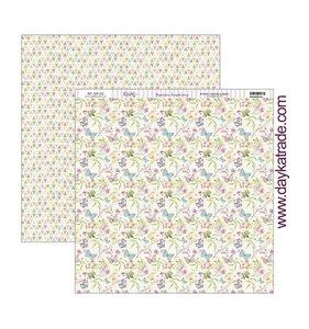 """Papel 12x12"""" Mariposas y Flores"""