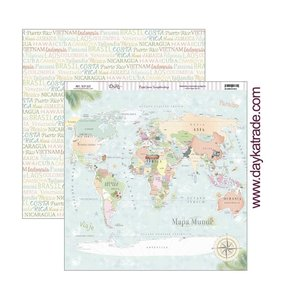 """Papel 12x12"""" Mapa Mundi"""