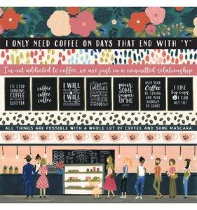 "Papel 12""x12"" Coffee Border Strips"