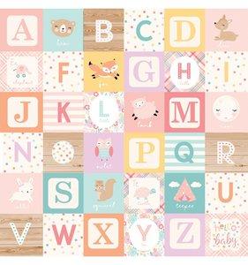 "Papel 12""x12"" Hello Baby Girl Alphabet Blocks"