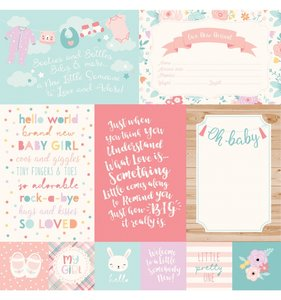 "Papel 12""x12"" Hello Baby Girl 4x6 Journaling Cards"