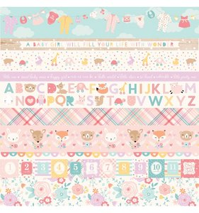 "Papel 12""x12"" Hello Baby Girl Border Strips"