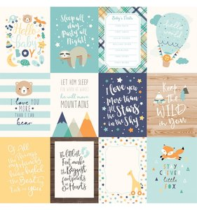 """Papel 12""""x12"""" Hello Baby Boy 3x4 Journaling Cards"""