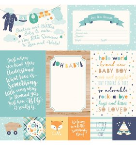"""Papel 12""""x12"""" Hello Baby Boy 4x6 Journaling Cards"""