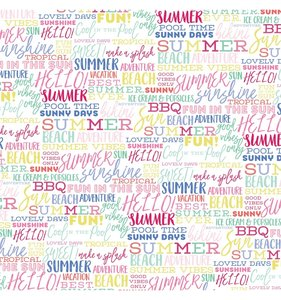 """Papel 12""""x12"""" Best Summer Ever Summer Words"""