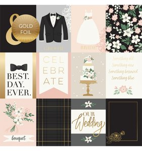 """Papel 12""""x12"""" Wedding Day Foil 3x4 Journaling Cards"""