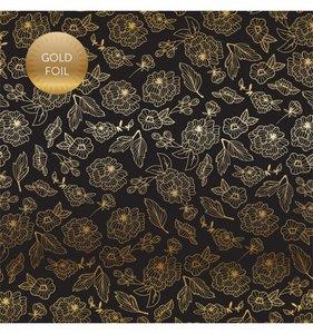 "Papel 12""x12"" Wedding Day Foil Gold Floral"