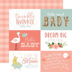 """Papel 12""""x12"""" Baby Girl 6X4 Journaling Cards"""