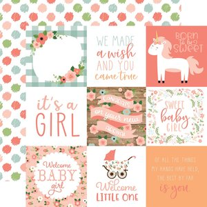 """Papel 12""""x12"""" Baby Girl 4X4 Journaling Cards"""