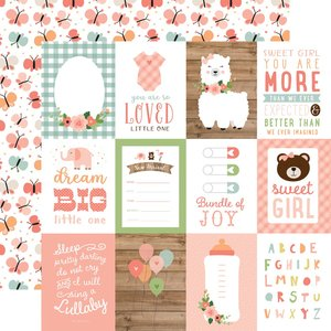 """Papel 12""""x12"""" Baby Girl 3X4 Journaling Cards"""