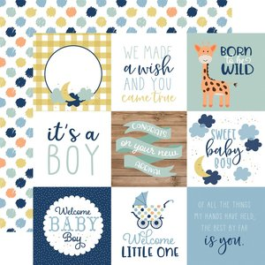 """Papel 12""""x12"""" Baby Boy 4X4 Journaling Cards"""