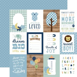 """Papel 12""""x12"""" Baby Boy 3X4 Journaling Cards"""
