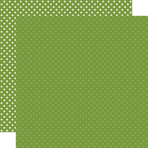 """Papel 12""""x12"""" Dots and Stripes Leaf Green"""