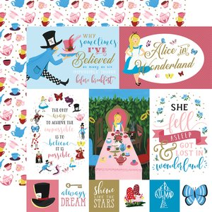 "Papel 12x12"" Alice in Wonderland v2 Multi Journaling Cards"