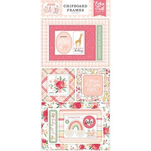 """Chipboard 6x12"""" Echo Park Welcome Baby Girl Frames"""