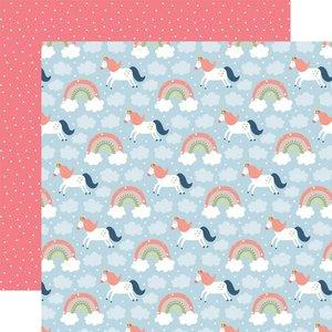 "Papel 12x12"" Little Dreamer Girl Riding Rainbows"
