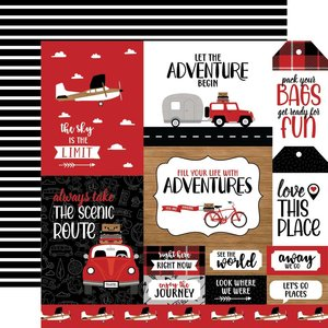 """Papel 12x12"""" Let's Go Anywhere Multi Journaling Cards"""