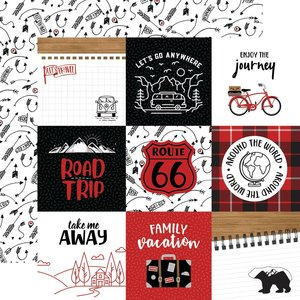 """Papel 12x12"""" Let's Go Anywhere 4""""X4"""" Journaling Cards"""