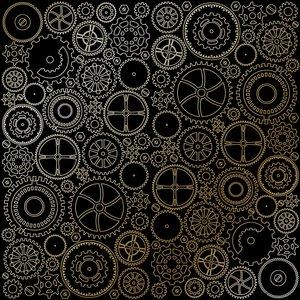 Papel Emboss Gold Foil Gears Black