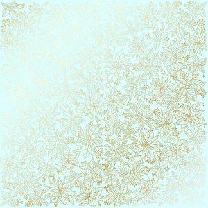 Papel Emboss Gold Foil Poinsettia Mint