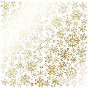 Papel Emboss Gold Foil Snowflakes White