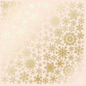 Papel Emboss Gold Foil Snowflakes Beige