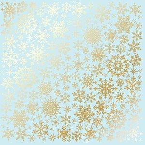 Papel Emboss Gold Foil Snowflakes Blue