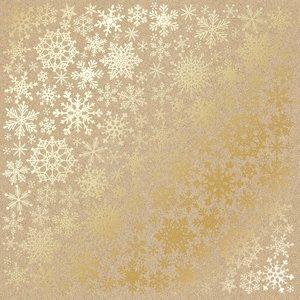 Papel Emboss Gold Foil Snowflakes Kraft
