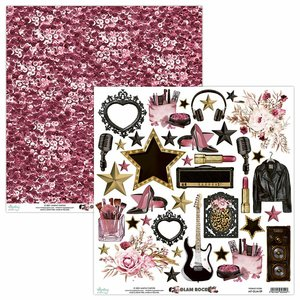 "Papel 12x12"" Mintay Col. Glam Rock Elements"
