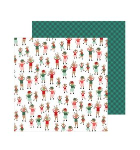 "Papel 12""x12"" Merry Little Christmas Dancing Reindeer"