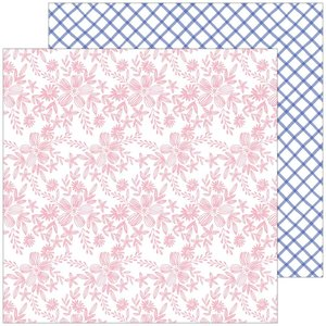 """Papel 12x12"""" Happy Blooms de PinkFresh Embroidered"""