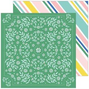 """Papel 12x12"""" Happy Blooms de PinkFresh Handkerchief"""