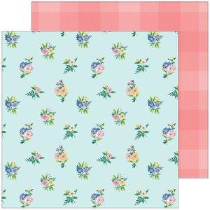 "Papel 12x12"" Happy Blooms de PinkFresh Flower Patch"