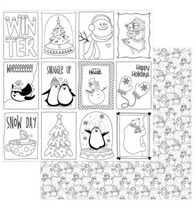 "Papel 12x12"" Frosty Friends Color Me Cards"