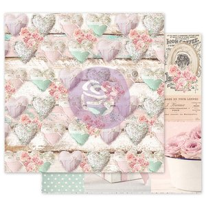 """Papel 12x12"""" col. With Love de Prima Stitched Hearts"""