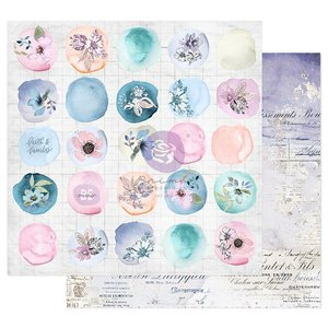 """Papel 12x12"""" col. Watercolor Floral de Prima Watercolor Drops"""