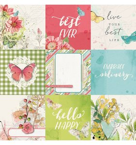 "Papel 12""x12"" Simple Vintage Botanicals 4x4 Elements"