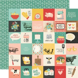 "Papel 12""x12"" Apron Strings 2x2 Elements"