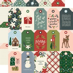 "Papel 12""x12"" Winter Cottage Tags"