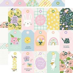 "Papel 12x12"" Bunnies y Blooms Tags"