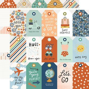 """Papel 12x12"""" Safe Travels Tags"""