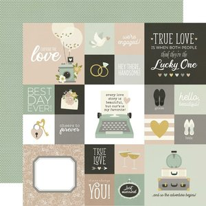 """Papel 12x12"""" Happily Ever After 2X2"""" & 4X4"""" Elements"""