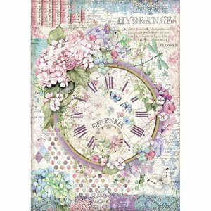 Papel de Arroz A4 Stampería Hortensia Clock