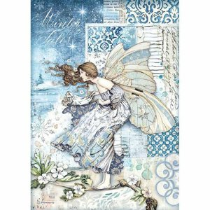 Papel de Arroz A4 Stampería Winter Tales Fairy in the Wind