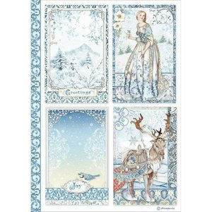 Papel de Arroz A4 Stampería Winter Tales Cards
