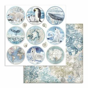 "Papel 12x12"" Stampería Artic Antartic Rounds"