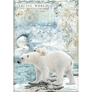 Papel de Arroz A4 Stampería Artic Antartic Polar Bears
