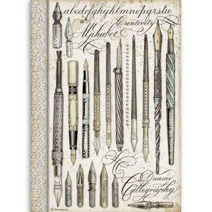Papel de Arroz A4 Stampería Calligraphy Vintage Pens